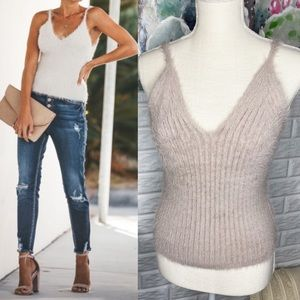 Vici Flawless Fuzzy Shimmer Sweater Tank Top